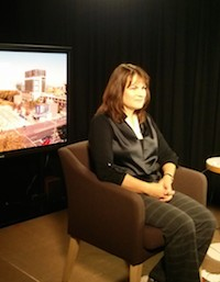 Dr Barbara Keys prepares for a live cross with ABC24 in March.