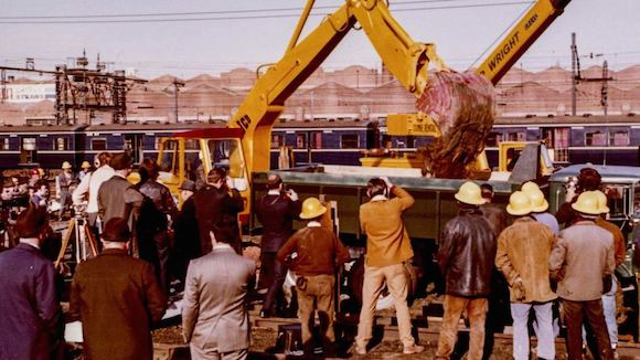 Bolte Government Minister for Transport Vernon Wilcox QC excavates first soil for what would become the City Loop, 22 June 1971 (Public Record Office Victoria).