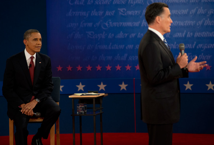 US President Barack Obama and challenger Mitt Romney at a 2012 presidential debate