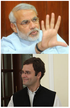 Narendra Modi (above) and Rahul Gandhi (below) are vying to be India's next Prime Minister