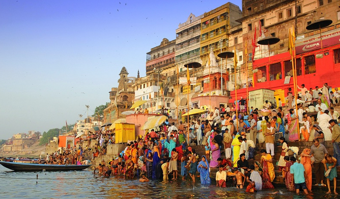 Varanasi sits on the banks of the river Ganga